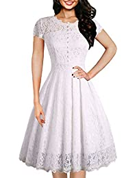 Women's Vintage Floral Lace Cap Sleeve Retro Swing Elegant Bridesmaid Dress