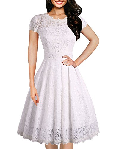 OWIN Women's Retro Floral Lace Cap Sleeve Vintage Swing Bridesmaid Dress (M, White)