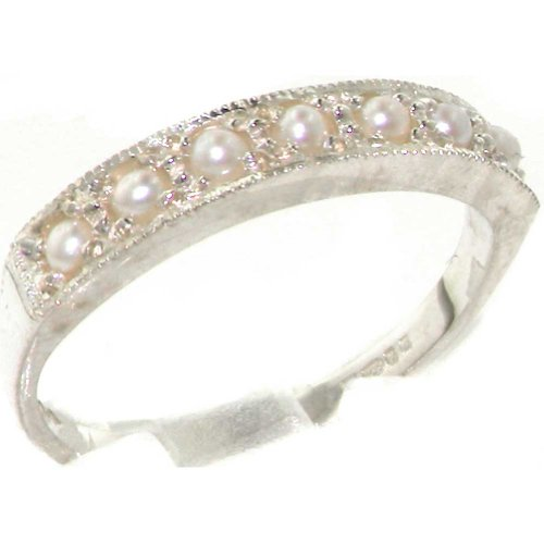 925 Sterling Silver Cultured Pearl Womens Band Ring - Sizes 4 to 12 Available (Band Ring Eternity Pearl)