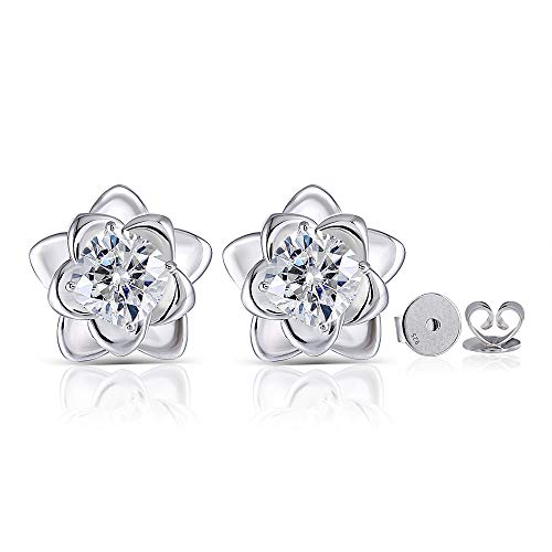 DovEggs 14K White Gold Post 1ct 6X6mm H-I Cushion Cut Lotus Flower Blossom Moissanite Stud Earring Push Back Platinum Plated Silver for Women ()