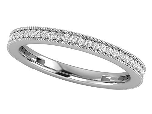 14K White Gold 1/5 Carat (H-I Color, SI2-I1 Clarity) Natural Diamond Wedding/Anniversary/Stackable Band for Women