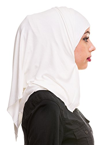Kashkha Women's Plain Cotton Jersey Lightweight Hijab Scarf, Off White, 22inches Width*77inches Length /(55cm*200cm) by Kashkha (Image #1)