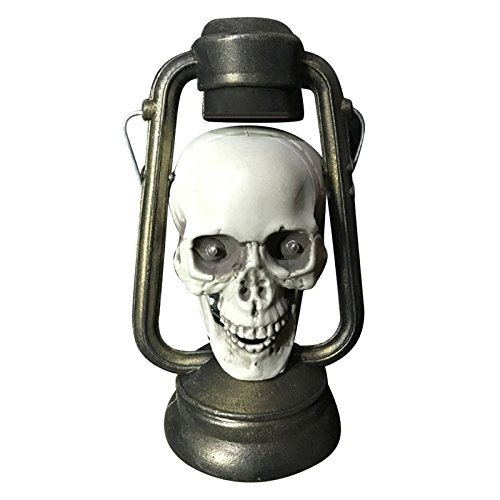 Takefuns Halloween Haunters Pirate Skull Lantern Spooky Light Up Lamp Old Fashioned Light Up Lantern for Halloween Horror Party Prop Room Decoration