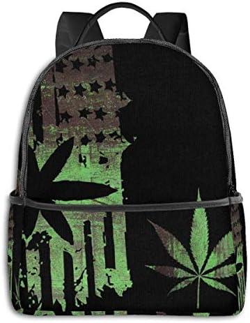 Rucksack für die Schule, große Kapazität, für Camping, Picknick, Fahrrad, Mathematik, Grau, Camping, Outdoor, Rucksack für Frauen, Männer, Schul-Geschenk Marijuana Weed American Usa Flag Einheitsgröße