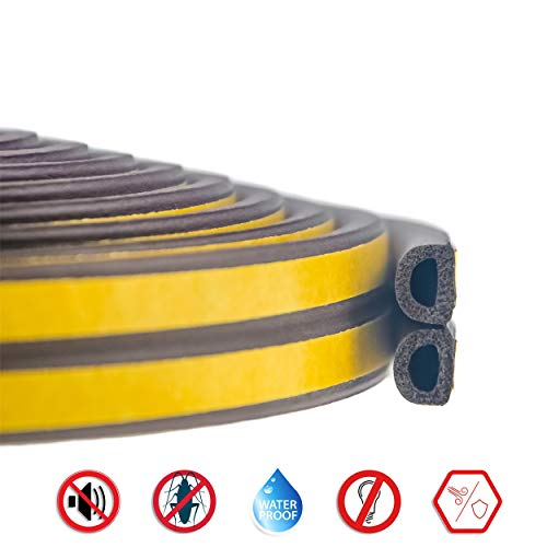 (Self-Adhesive Insulation Doors and Windows Draught Excluder Foam Seal Strip Soundproofing Collision Avoidance Rubber Weather Stripping Sealing(D Type 5M,)