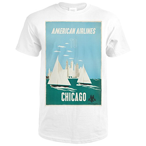 American Airlines - Chicago (artist: Kauffer) USA c. 1951 - Vintage Advertisement (Premium White T-Shirt X-Large) (Airlines 1951 American)