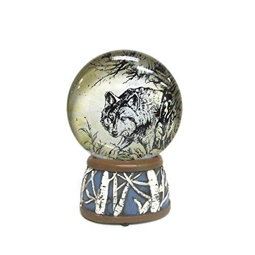 WonderMolly North American Wildlife Gray Wolf Light-Up Slim Snow Globe (Wolf Water Globe)