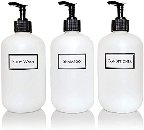 Artanis Home Silkscreened Empty Shower Bottle Set for Shampoo, Conditioner, and Body Wash, Squat 16 oz 3-Pack, White Black Pumps
