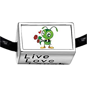 Chicforest Silver Plated With a Basket of Flowers Ant Photo Live Love Laugh Charm Beads Fits Pandora Bracelets