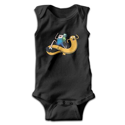 Adventure Time Finn and Jake Newborn Bodysuits Sleeveless Baby Boys Girls Jersey Baby Cotton Bodysuit Black -