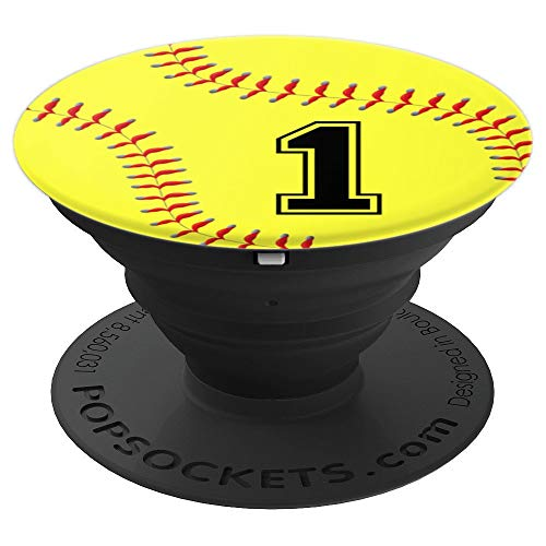 Softball #1 Softball Player Jersey No 1 Phone Grips Gift - PopSockets Grip and Stand for Phones and Tablets