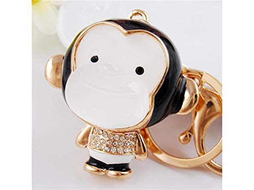 Junson Key Holder Creative Cartoon White-Faced Monkey Pendant Key Chain Bag Purse Decoration Keyring(White) Car Key - Key Monkey Holder