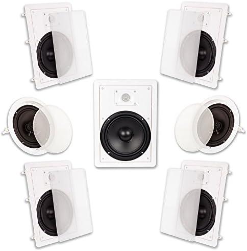 Acoustic Audio HT-87 In Wall In Ceiling 2100 Watt 8″ Dwelling Theater 7 Speaker System