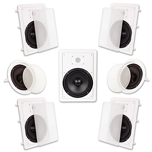 Acoustic Audio HT-87 In Wall In Ceiling 2100 Watt 8″ Home Theater 7 Speaker System