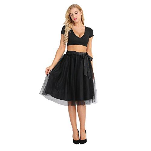 iiniim Jupe Tulle Femme Fille Courte t Vintage A-Line Plisse Jupe de Soire Cocktail Basique Patineuse Jupon Satin lgante Casual Uni Boho Grande Taille Haute Noir
