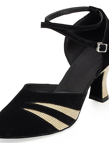 ShangYi Non Customizable Women's Dance Shoes Latin / Jazz / Modern / Swing Shoes / Samba Leather / Leatherette / Flocking black and gold