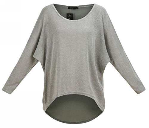 UGET Women's Sweater Casual Oversized Baggy Off-Shoulder Shirts Batwing Sleeve Pullover Shirts Tops Asia XL Gray by UGET (Image #1)