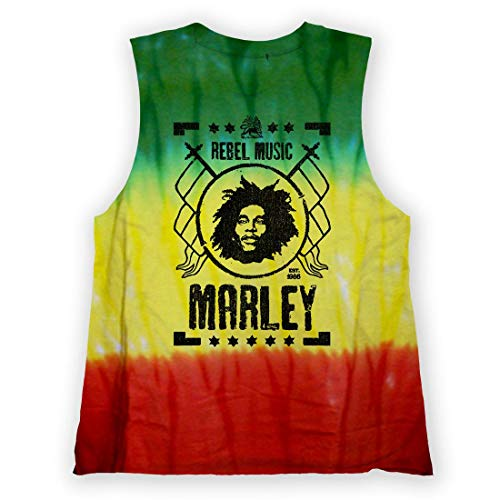 Zion Bob Marley Rebel Music Tie Dye Muscle Tank Top Shirt (Small)