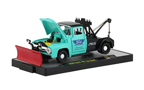 (M2 Machines Auto Trucks Release 52 1956 Ford F-100 Tow Truck with Snow Plow 1:64 Scale Diecast Model 18-61)