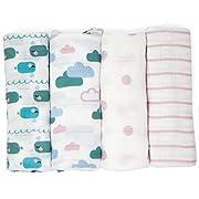 Emma & Noah Muslin Swaddle Blankets, 4 Pack, 100% Cotton, 31.5 x 31.5 inch, Pink