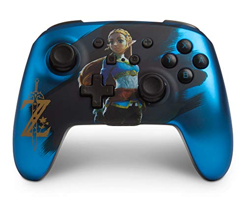 PowerA Enhanced Wireless Controller for Nintendo Switch - Satin Blue Chrome Zelda (Only at Amazon.Com) - Nintendo Switch (Zelda Breath Of The Wild Controls Switch)