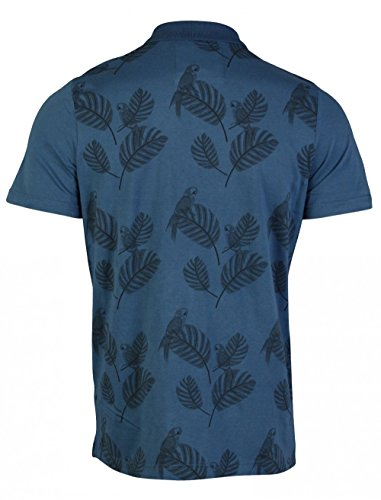Mens D-Code 1X3409 Piqué-Polo-Shirt Kurzarm T-Shirt-Top mit Druck Detail, Vogel, Blau, Medium