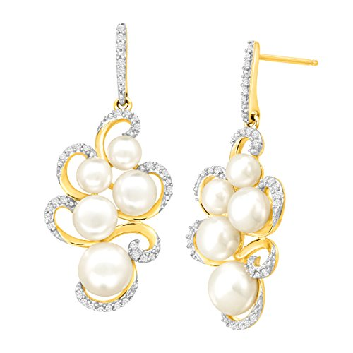1/5 ct Diamond & Freshwater Button Cultured Pearl Swirl Drop Earrings in 14K Gold