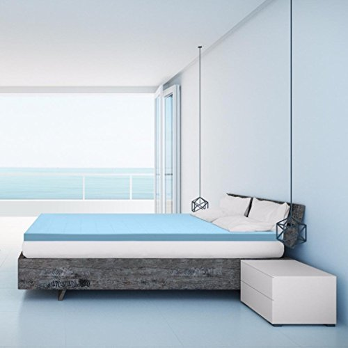 Best Price Mattress 2.5 Inch Gel Memory Foam Bed Topper with Cooling Mattress Pad, Twin XL, Blue by Best Price Mattress
