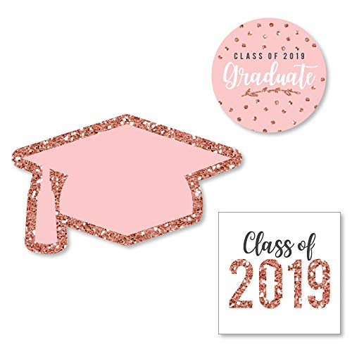 Big Dot of Happiness Rose Gold Grad - DIY Shaped 2019 Graduation Party Cut-Outs - 24 Count