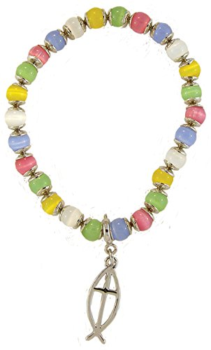 Multi-Colored Stretch Bracelet, Pierced Fish Cross Charm