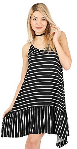Tank Reg - Black and White Striped Dress Striped Tank Dress Reg and Plus Size Spaghetti Strap Dress Striped Midi Dress (Size Small US 2-4, Blk/Ivory-Sleeveless)