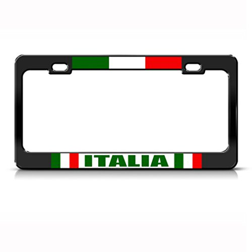 Italian Flag Italia Country Metal License Plate Frame Tag Holder