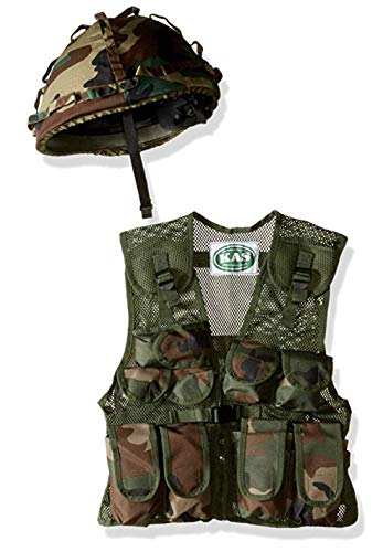 Kids Army Camo Helmet & Assault Vest Combo - with Free Army Dog Tags, Ages -