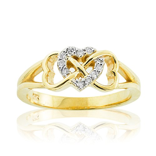 Solid 14k Yellow Gold Diamond Triple Heart Infinity Ring (Size 7.5)
