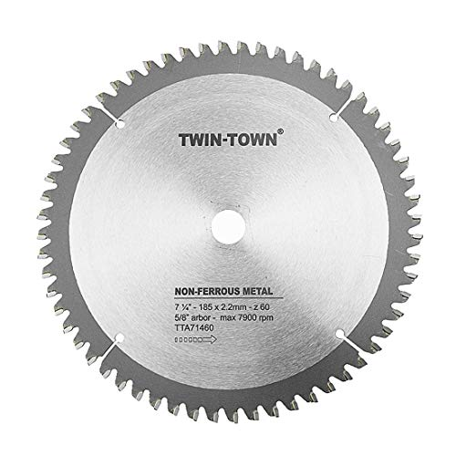 - TWIN-TOWN 7-1/4-Inch 60 Tooth ATB Fine Finish Thin Kerf Saw Blade with 5/8-Inch DMK Arbor
