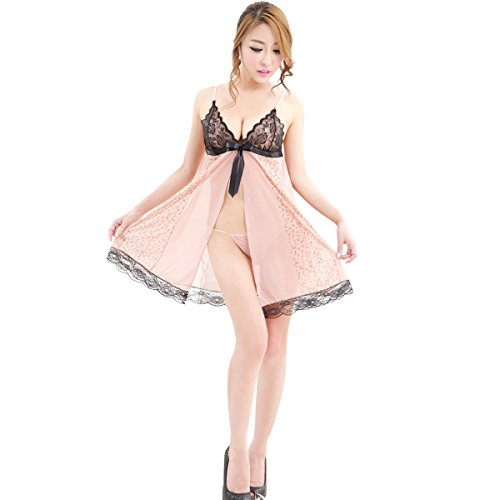 loel Valentine's Day Gift Women Sexy Lingerie Front Open Lace Splicing Bra 2 Piece Sling Chenise Mini Babydoll