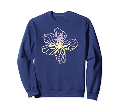 Unisex Mothers Day Pastel Flowered Pink and Golden Blues Sweatshirt 2XL Navy Navy Blue Flowered