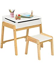Costzon Kids Table and Chair Set, Wooden Lift-top Desk & Chair w/Storage Space, Safety Hinge, Gift for Toddler Drawing, Reading, Writing, Homeschooling, Children Activity Table & Chair (White)