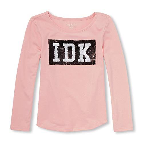 The Children's Place Big Girls' Long Sleeve Sequin Knit, Light Plum, XL (14)]()