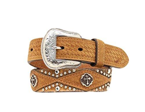 Rhinestone Cowboy Belt (Nocona Boy's Calf Hair Cross Conchos Belt, Medium Brown Distressed, 28)