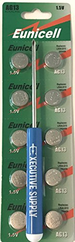 Finger Monkey Battery Replacement Kit with 10 LR44 Batteries + Mini Phillips Screwdriver