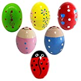 6 Wooden Percussion Musical Egg Maracas Egg Shakers