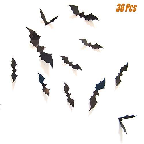 HELME 3D Bat Halloween Wall Stickers Decor 36Pcs Mixed Sizes (bat)