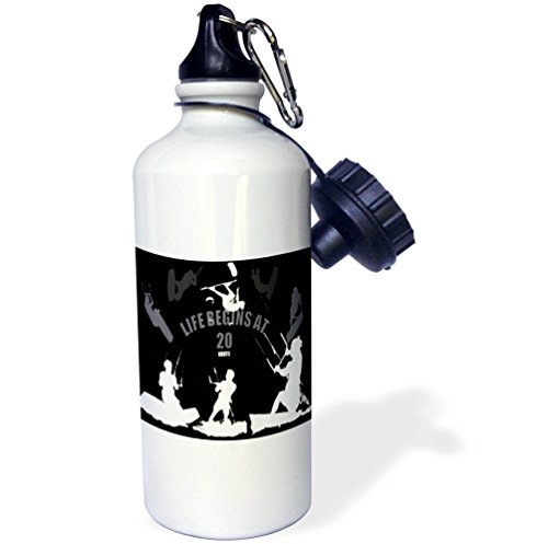 3dRose Taiche - Vector - Kitesurfing Wakeboarding - Life Begins At 20 Knots For Kitesurfers White Design - 21 oz Sports Water Bottle (wb_269727_1) by 3dRose