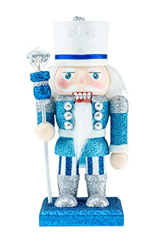 Clever Creations Wooden King Christmas Nutcracker | Blue, Silver, White with Scepter | Premium Festive Traditional Christmas Decor | 6