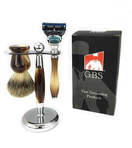 GBS Mens Premium Grooming Set - Ultimate Complete Kit - 5 Blade Compatible Manual Razor Long Horn Handle, Pure Badger Bristle Shave Brush, Brush & Razor Stand Holder - Enhanced Wet Shaving