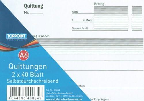 3x Quittungsblock Quittungen 2X40 Bl A6 durchschreibend