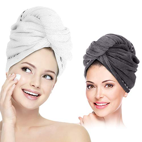 Hair Towel Wrap Turban Microfiber Hair Drying Towels, 2 Pack Twist Head Towel with Button, Quick Dry Super Absorbent Anti-Frizz for Women Girls Long & Curly Hair by AMoko (Best Hair Towel Wrap)