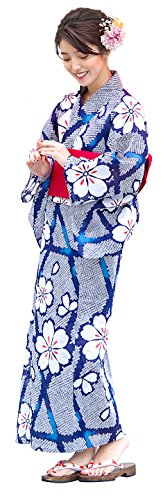 Kimura Jitsugyo Women's Kyoto Traditional Easy Wearing Kawaii Yukata Robe(Japanese Casual Kimono) Full Set 4 Purple & Cherry Blossoms Type 8 Woman