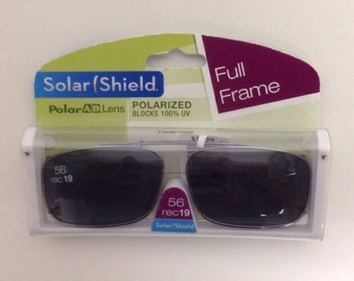 Solar Shield Polarized Clip-on Sunglasses 56 Rec 19 Gray Lenses Fits Full Frame (Shield Lens Plastic Sunglasses)